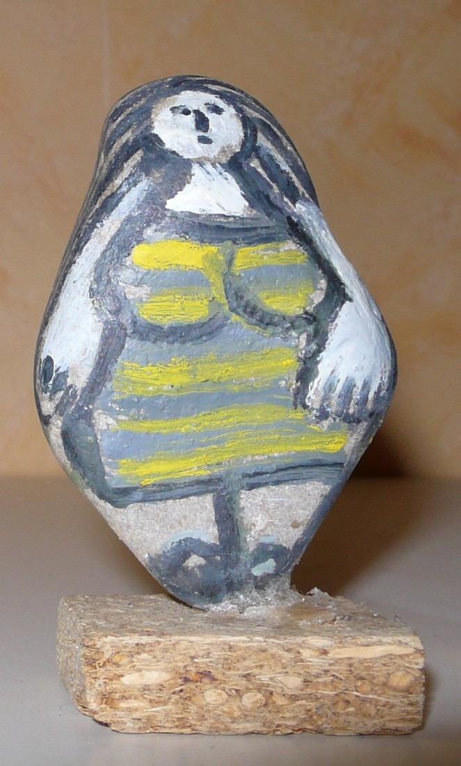Baigneuse debout galet peint coll. privée