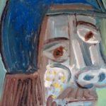 Homme à la casquette bleue, huile sur bois, 10x15 / en vente