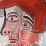 Homme à la casquette rouge, huile sur bois, 10x15 / en vente