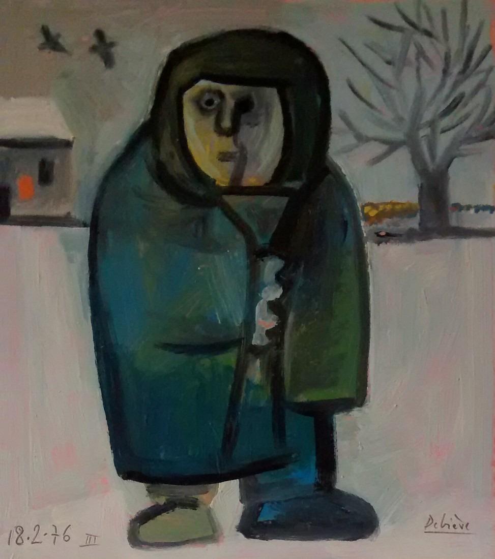 Vieille dans la neige, 31x35 / vendu