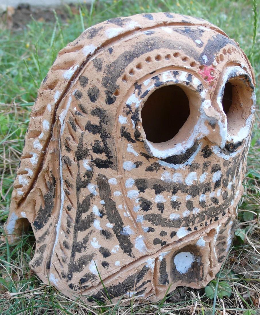 photophore chouette terre cuite peinte coll. privée