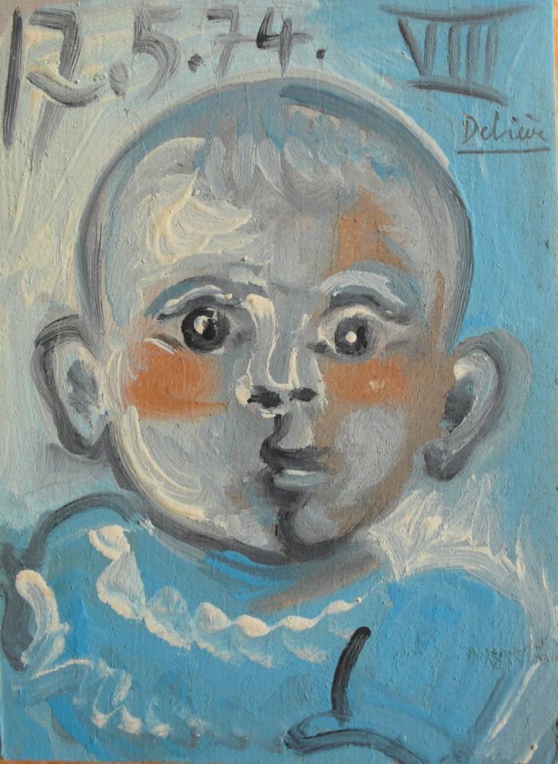 Bébé bleu, 18x15 / en vente
