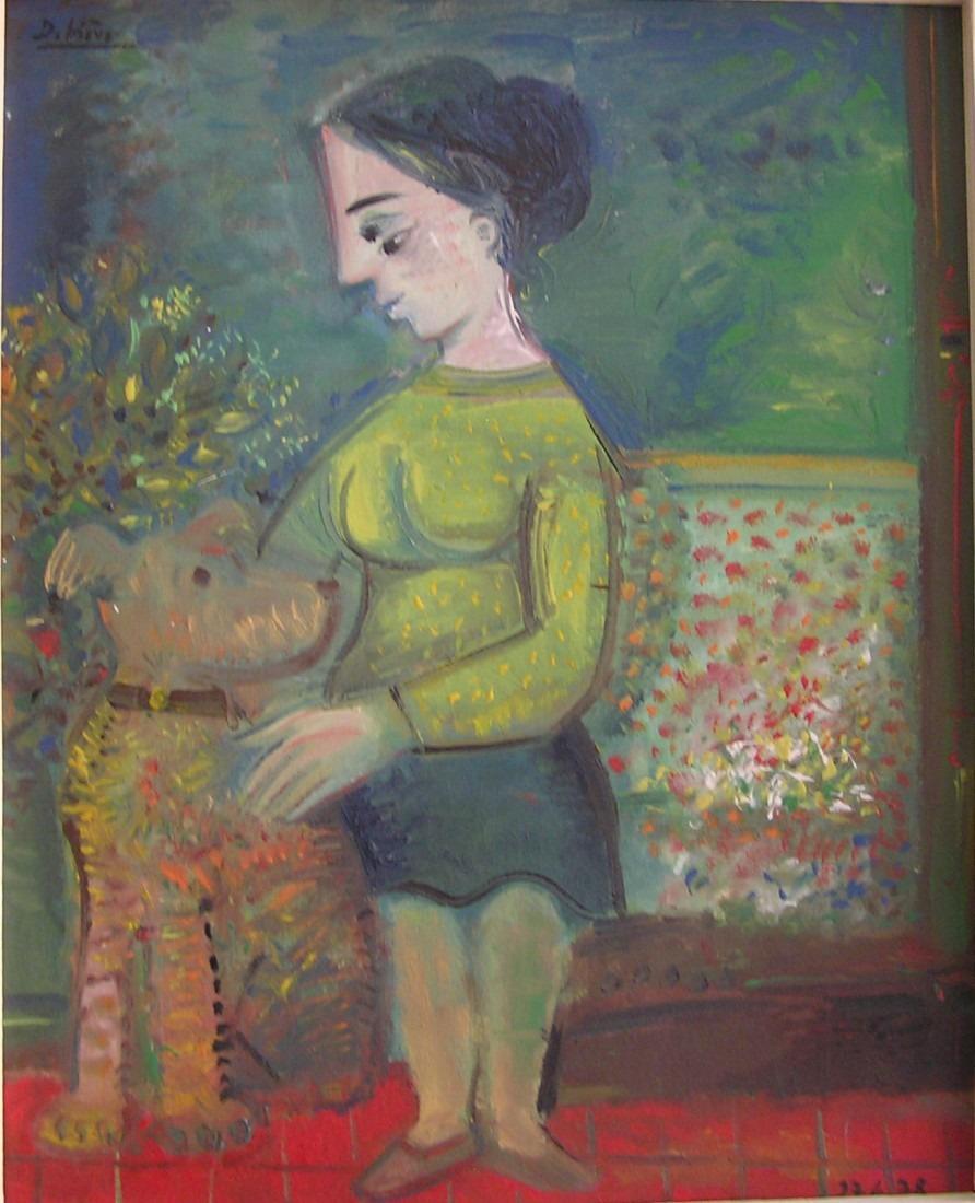 Dame et son chien, 58x47 / en vente