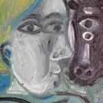 Fermière et tête de vache, 21x15 / vendu