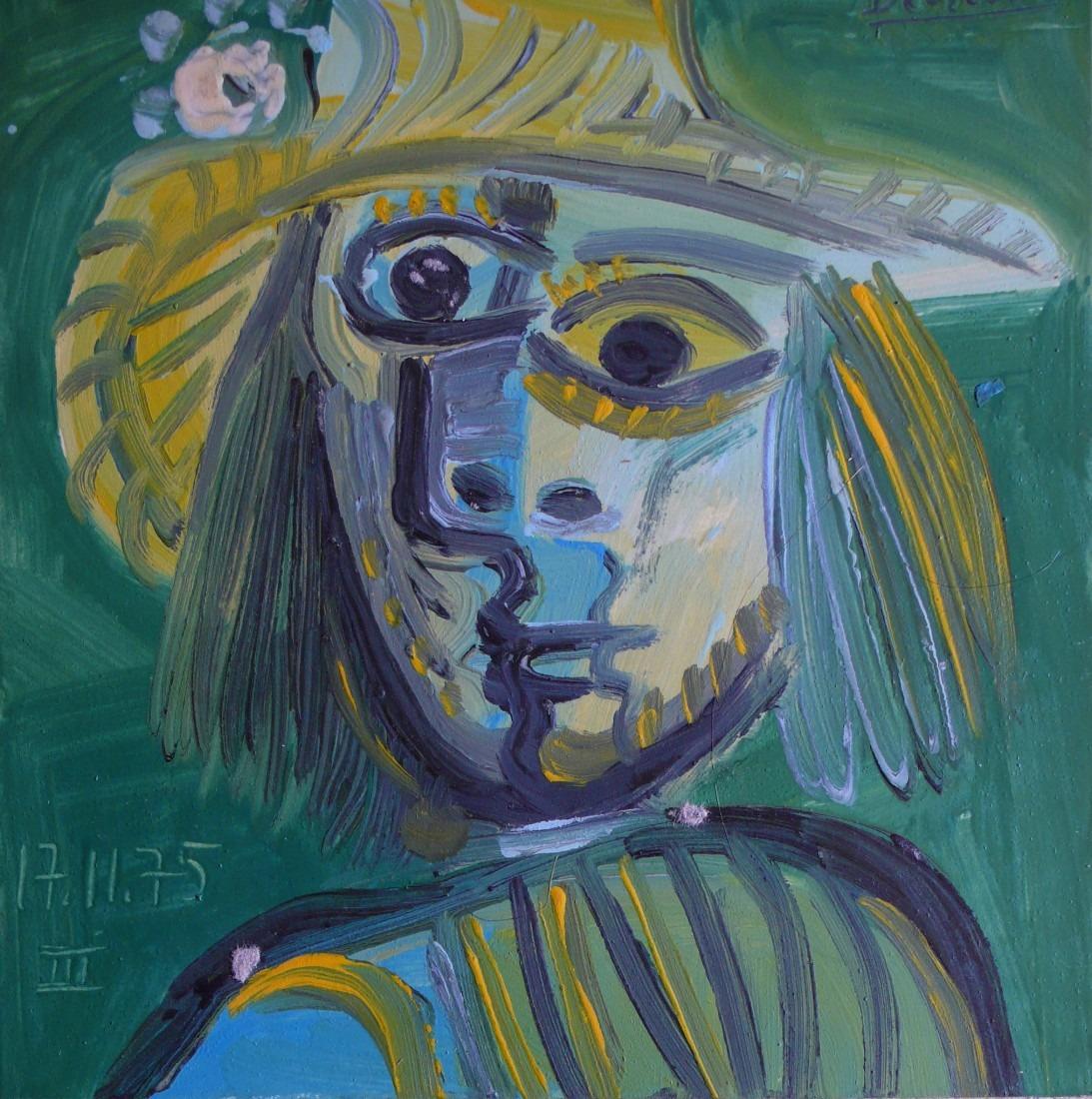 Homme au chapeau jaune, 21x20