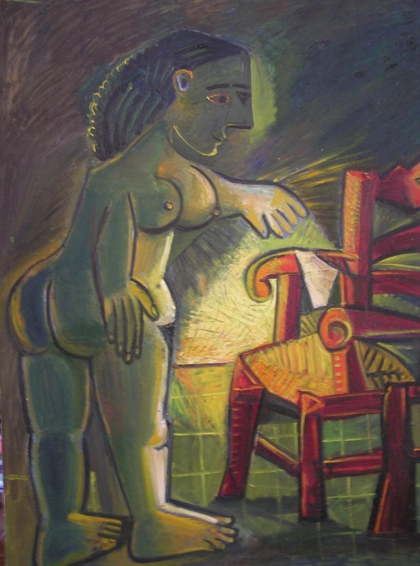 Nu à la chaise rouge, 123x98 / En vente