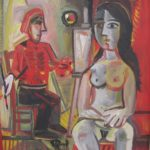 Peintre et son modèle, 57x39 / en vente