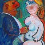 femme et homme II, huile sur carton, 51x36 cm, en vente