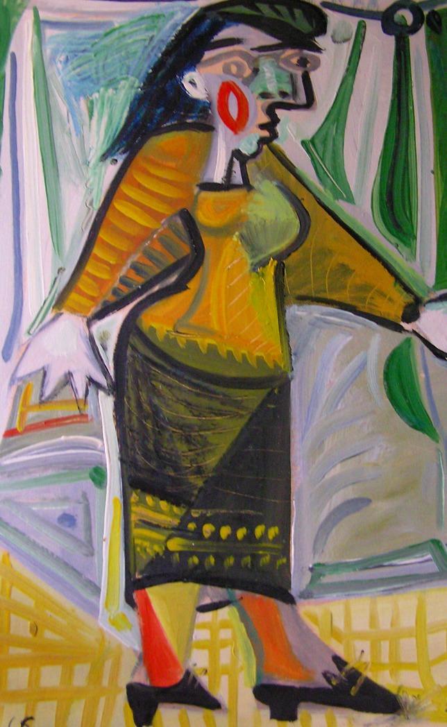 femme au sac à main, huile sur carton, 53x38, en vente