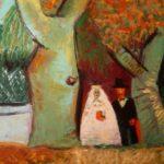 mariés sous l'arbre, huile sur carton, 115x80, en vente