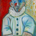 Pierrot, huile sur bois, 80x58, en vente