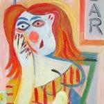 femme au bar, huile sur carton, 38x27, en vente