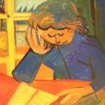 la lecture, huile sur carton, 53x50, vendu