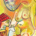 femme nue, huile sur carton, 75x43, en vente