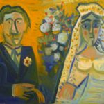 mariés I, huile sur carton, 40x59, en vente