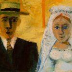 mariés II, huile sur carton, 40x59, en vente