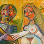 mariés IV, huile sur carton, 40x59, en vente