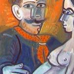 femme et homme IV, huile sur carton, 75x43, en vente