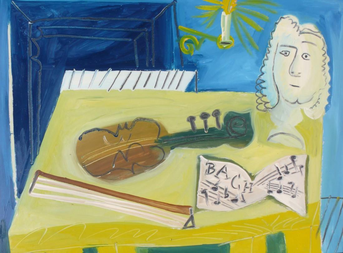Bach, huile sur carton, 48x64, en vente