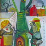 couple, huile sur carton, 57x45, en vente