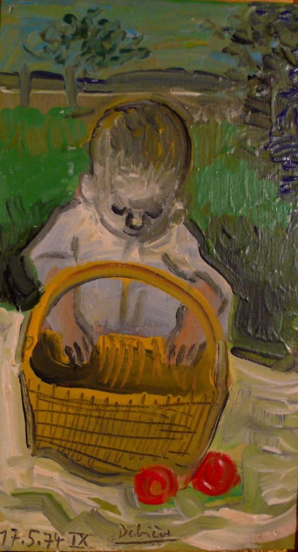 enfant au panier, huile sur carton, 20x11, en vente