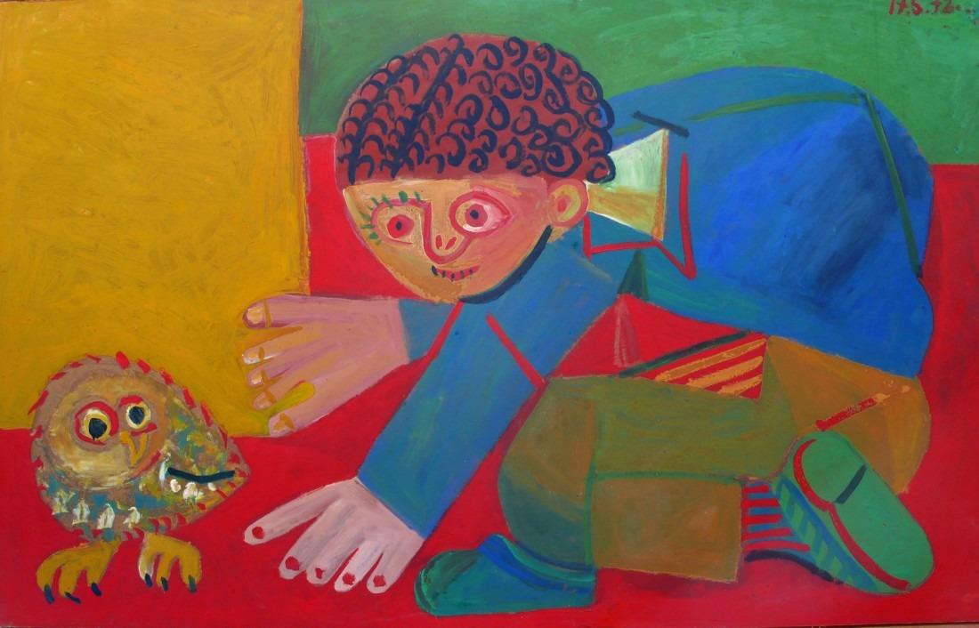 enfant et chouette, huile sur bois, 125x200, en vente