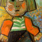 petite fille, huile sur carton, 57x39, collection privée