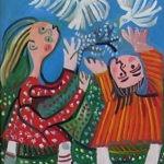 enfants et oiseaux, huile sur carton, 65x50, vendu