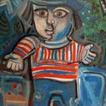 petit garçon, huile sur carton, 80x57, collection privée