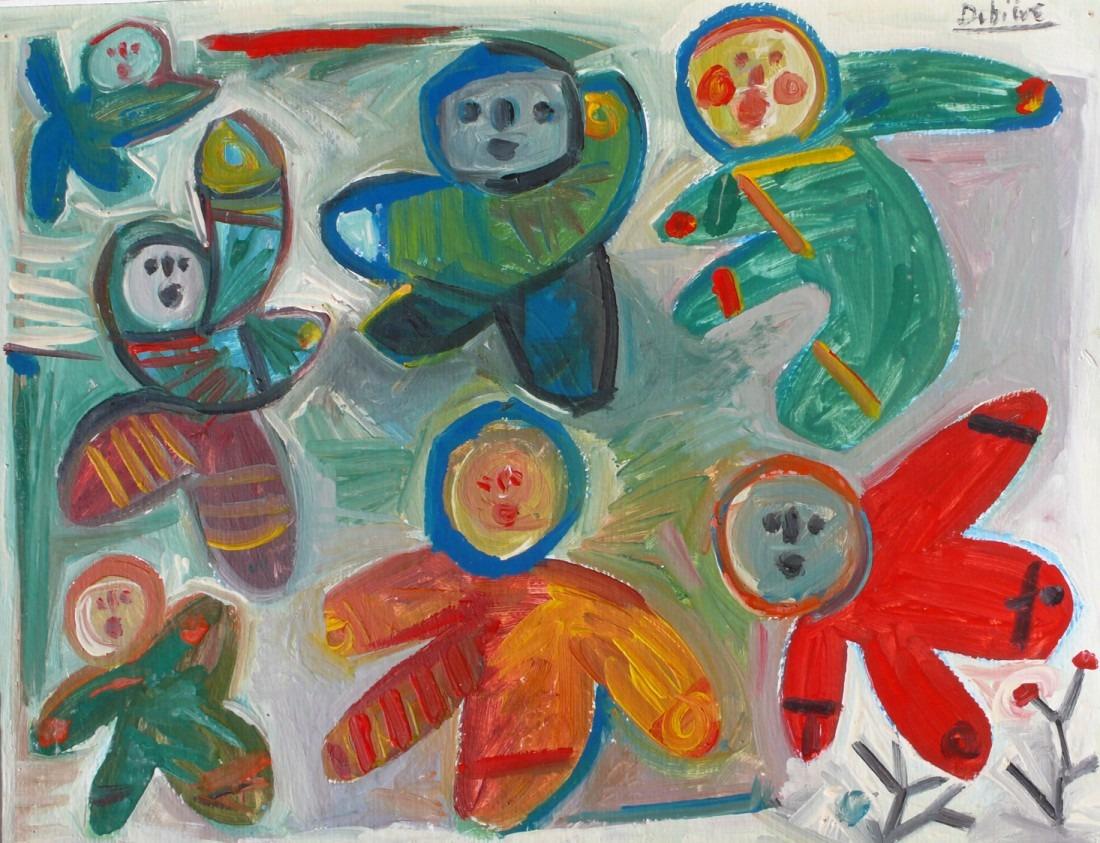 enfants dans la neige, huile sur carton, 45x57, en vente