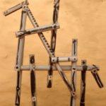 homme et cheval , bambous peints
