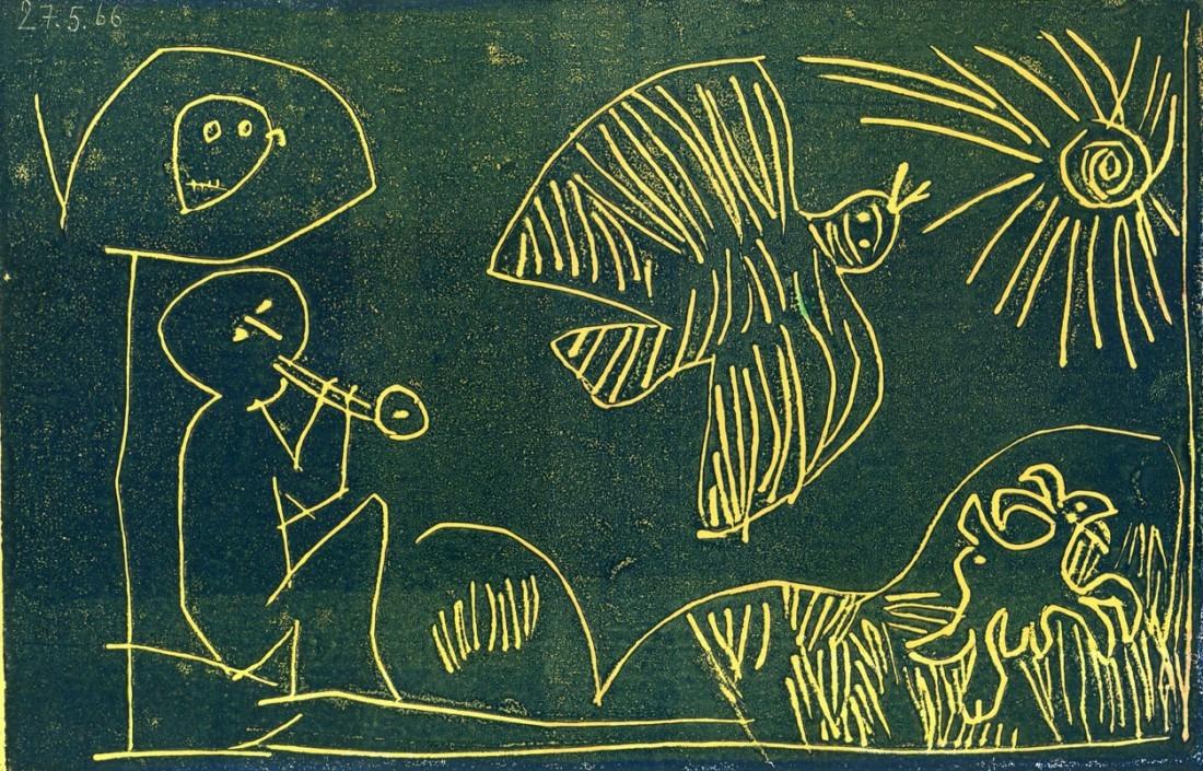 flûtiste - 14 x 21,5 cm - gravure