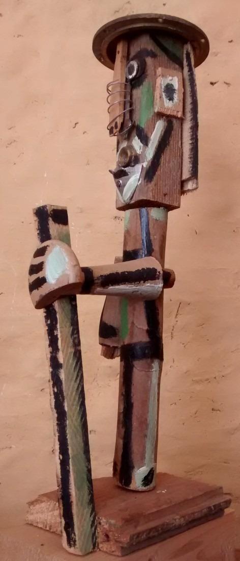 pèlerin, bois peint