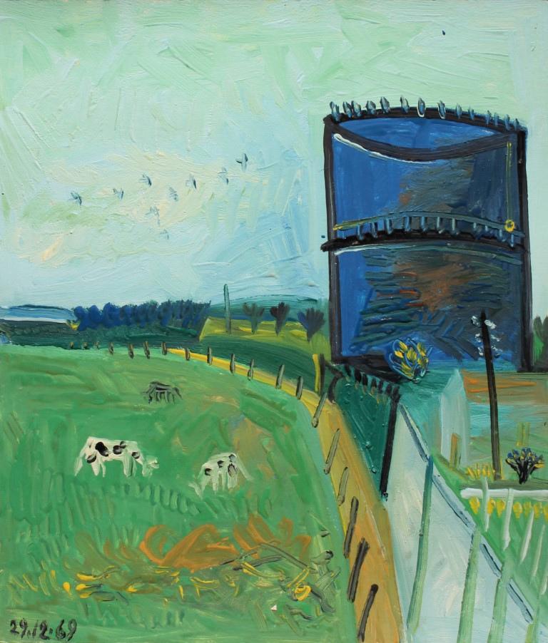 Vache et gazomètre, 38x43 cm, huile sur carton, en vente