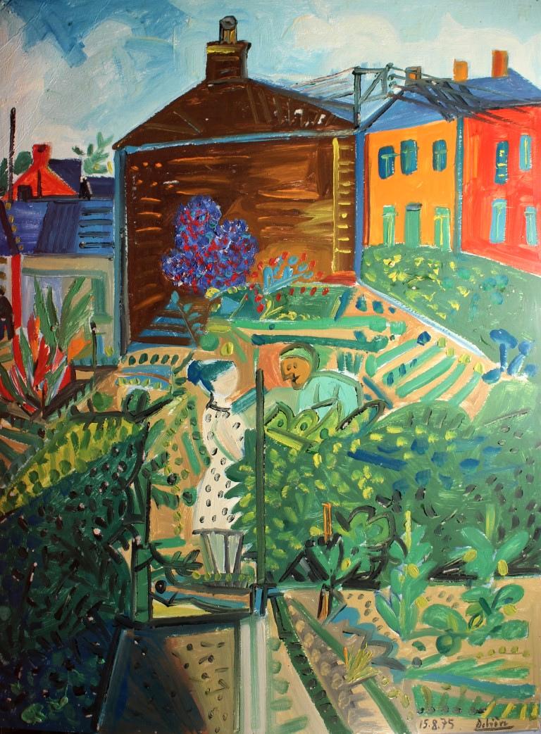 Entre voisines, huile sur carton, 105 x 78 cm, en vente