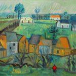 hameau, huile sur carton, 40x57cm, en vente