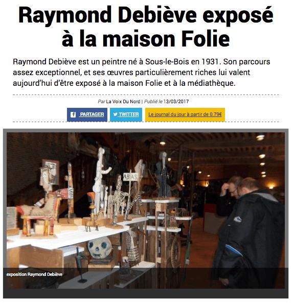 La Voix du Nord 13/03/2017 - Exposition Raymond Debiève à Maubeuge