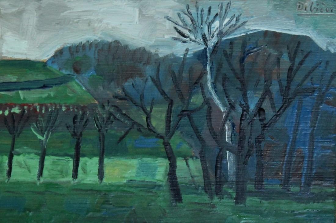 arbres noirs, 15x10cm, huile sur bois, en vente
