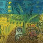 Moissons nuit tombante, 11x21 cm, huile sur bois, en vente