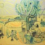 Moissons sous le soleil, 63x80 cm, huile sur carton, en vente