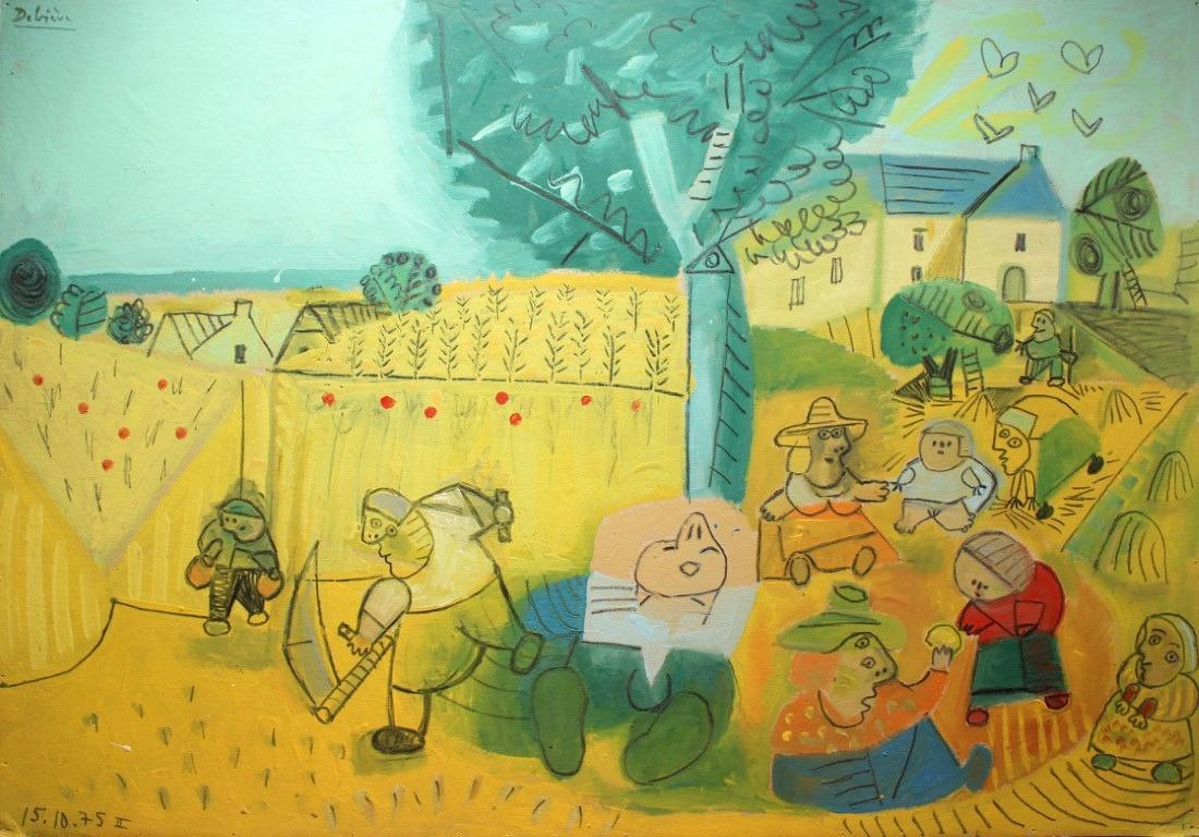 Moissons et coquelicots, 80x114 cm, huile sur carton, en vente