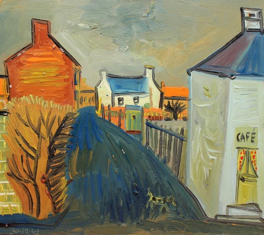 maisons et chien, huile sur carton, 43x38cm, en vente