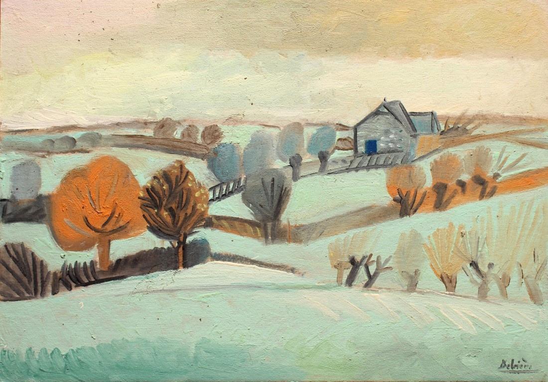 Paysage d'hiver, huile sur carton, 39x59cm, en vente