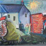 Le coq, huile sur carton, 28 x 45 cm, en vente