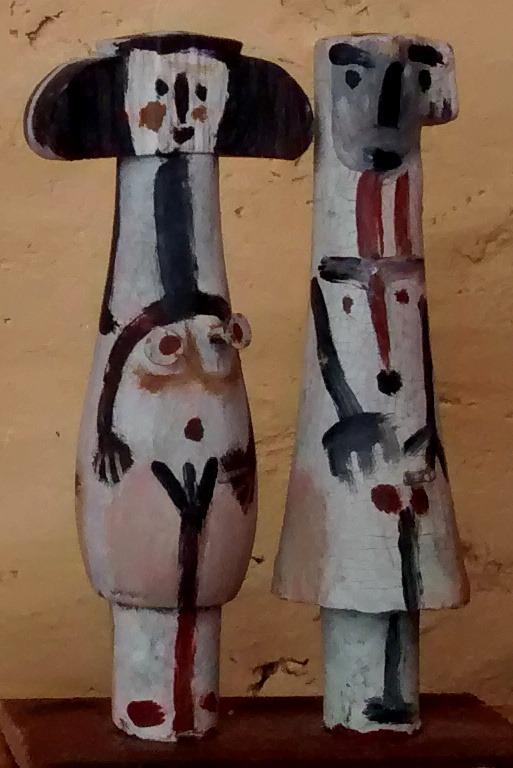 couple, bois peint