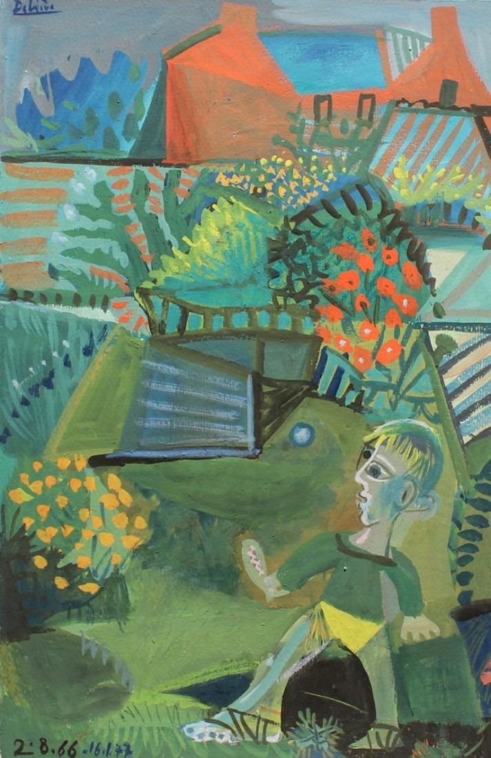 Enfant à la balle, 50x32 cm, huile sur carton, en vente