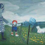 mère et enfant, huile sur bois, 24x37, en vente