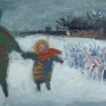 Dans la neige, huile sur bois, 11x25cm, en vente