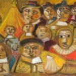 Société des crosseurs, huile sur bois, 29x110cm, en vente