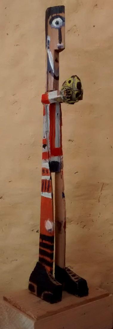 footballeur, bois peint